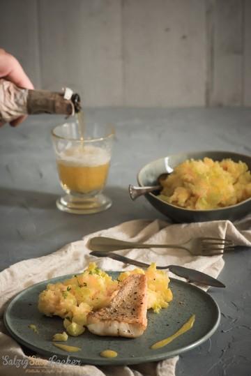 Rezept Quitten-Kartoffelstampf mit Fischfilet und Safransauce
