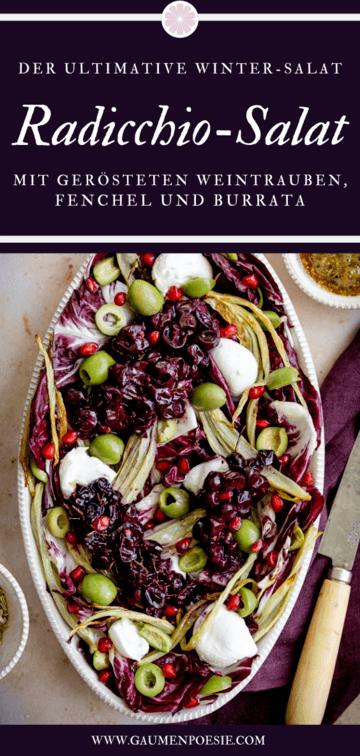Rezept Radicchio-Fenchel-Salat mit gerösteten Weintrauben und Burrata