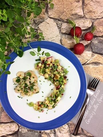 Rezept Radieschensalat mit marinierten Garnelen