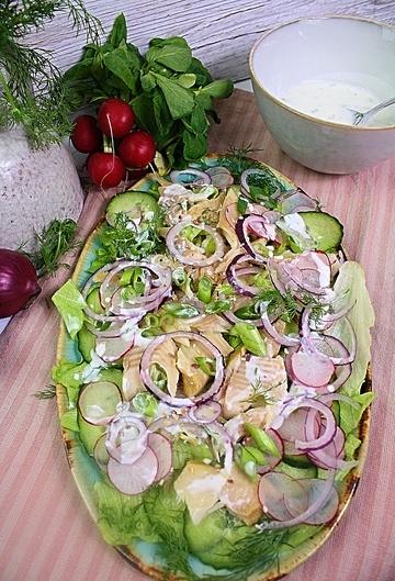 Rezept Räucherfischsalat mit Meerrettichdressing