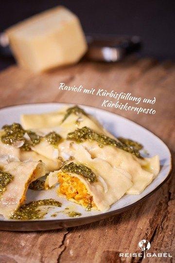 Rezept Ravioli mit Kürbisfüllung und Kürbiskernpesto