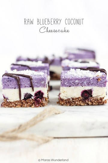 Rezept Raw Blueberry Coconut Cheesecake
