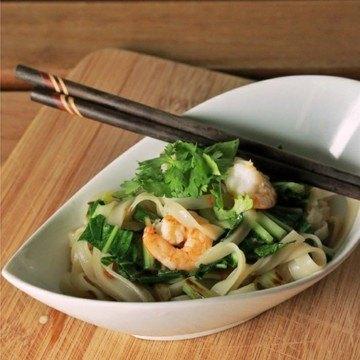 Rezept Reisnudeln mit Pak Choi und Garnelen
