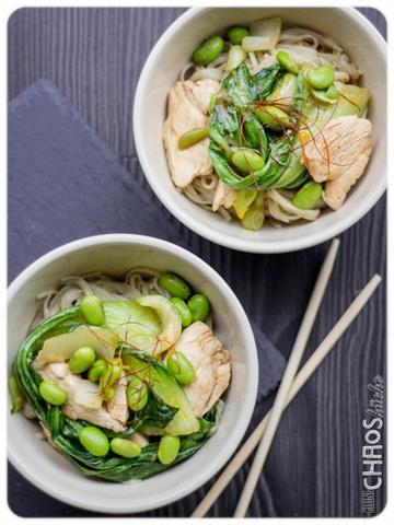 Rezept Reisnudeln mit Pak Choy, Edamame und Huhn