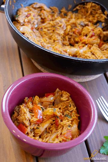 Rezept Reispfanne mit Nackensteak und gegrillter Paprika