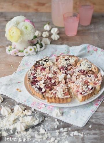 Rezept Rhabarber Cheesecake Tarte mit Baiserknusper