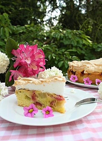 Rezept Rhabarber Erdbeer Kuchen mit Baiser