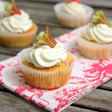 Rezept Rhabarber Honig Cupcakes