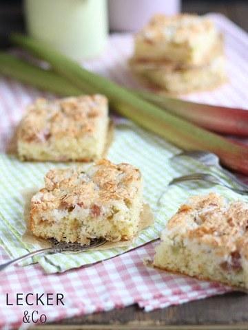 Rezept Rhabarberkuchen mit Kokosbaiser