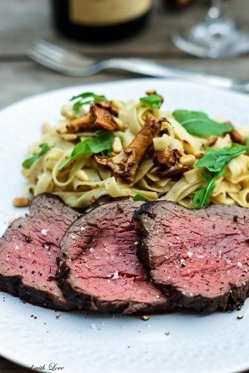 Rezept Rinder-Tagliata auf Tagliatelle und Pfifferlingen