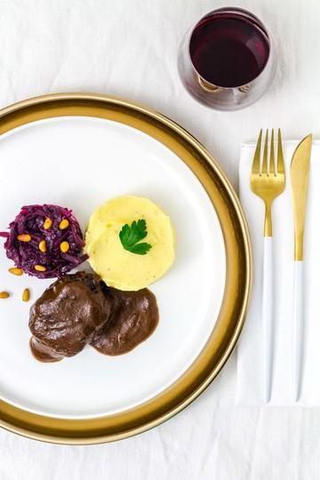 Rezept Rinderbäckchen | Cranberry-Rotkohl | Kartoffelpüree