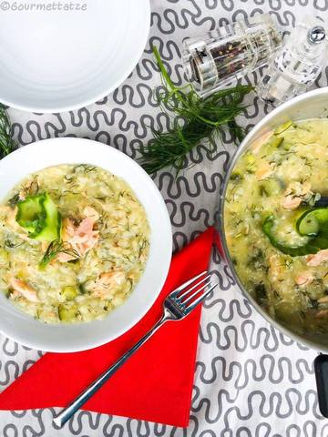 Rezept Risotto mit Gurke und Lachs