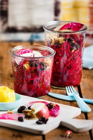 Rezept Rohkostsalat: Rote Bete-Salat mit Dörrpflaume und Walnuss