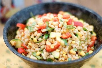 Rezept Rollgerste Salat mit geröstetem Mais