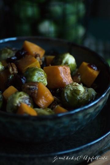 Rezept Rosenkohl-Butternut-Salat mit Cranberries