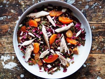 Rezept Rosenkohl-Pickles an Linsensalat mit Orangen und Makrele