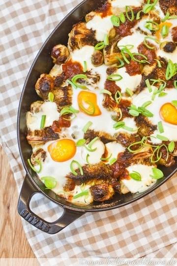 Rezept Röstgemüse mit BBQ-Sauce und Ei
