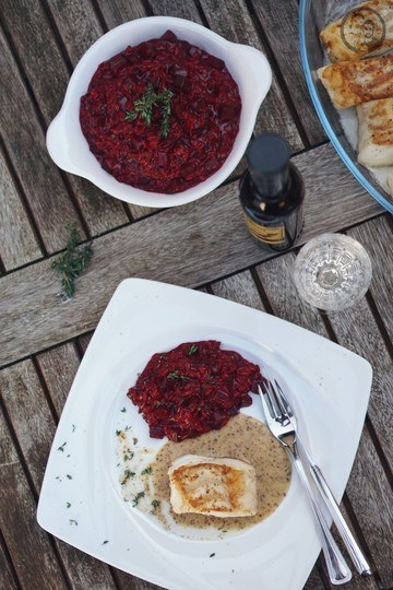 Rezept Rote Bete-Balsamico Risotto mit Kabeljau