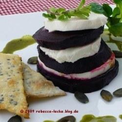 Rezept Rote Bete mit Büffelmozarella und Kürbiskernöl