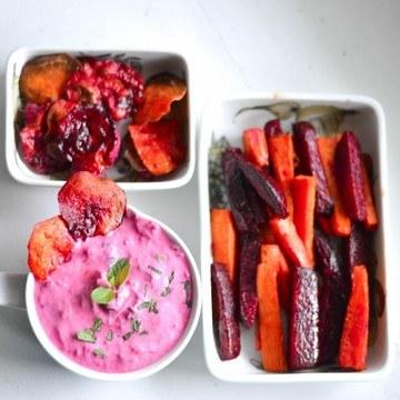 Rezept Rote Bete Tzatziki mit Süßkartoffel und Rote Bete Wedges