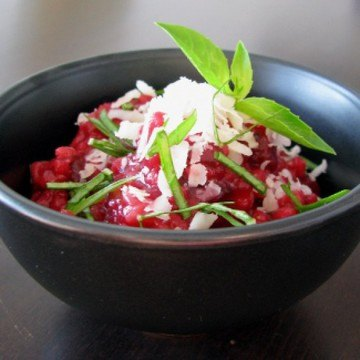 Rezept Rote-Bette-Risotto mit Weißwein und Parmesan