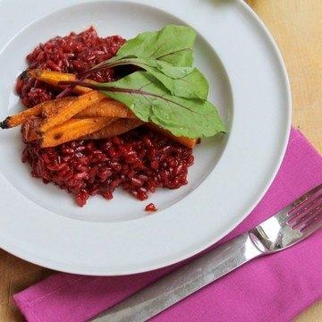 Rezept rotes Risotto mit Koriander-Möhren und Beta-Salat