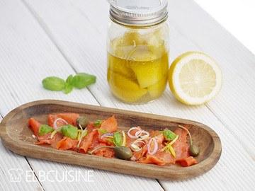 Rezept Rotlachs-Carpaccio mit Lemon-Confit