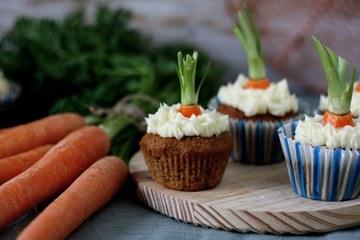 Rezept Rübli-Cupcakes mit Frischkäsecreme