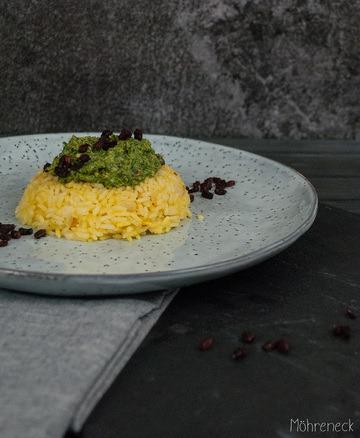 Rezept Rucola-Berberitzen-Pesto an Safranreis