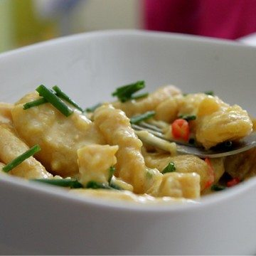 Rezept Safran-Fenchel-Gnocchi mit würziger Orangen-Käse-Sauce