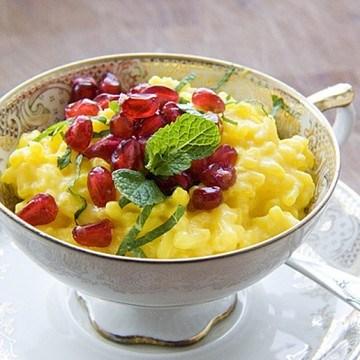 Rezept Safran-Minz-Milchreis mit Granatapfel
