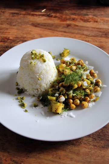 Rezept Safranreis mit Mango-Kichererbsen-Dill-Curry