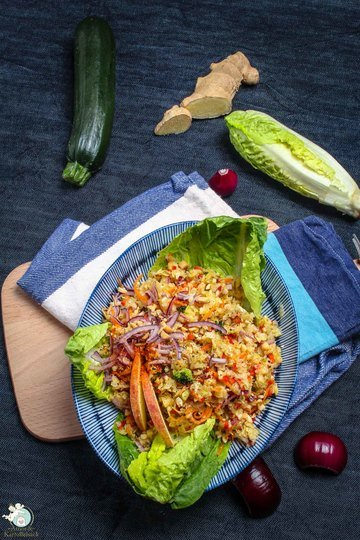Rezept saftiger Brokkolistrunk-Salat