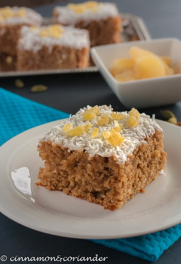 Rezept Saftiger Chai Kokos Kuchen mit kandiertem Ingwer