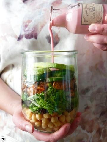 Rezept Salat im Glas mit Himbeerdressing