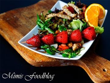 Rezept Salat mit Erdbeer-Balsamico-Spieß