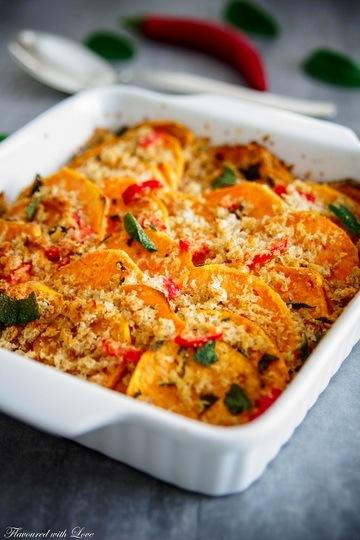 Rezept Salbei-Süßkartoffel mit Chili-Crumble