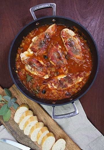 Rezept Saltimbocca vom Hähnchen mit Tomatensugo