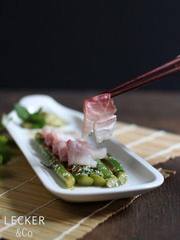 Rezept Sashimi vom Cobia mit asiatischem Spargelsalat