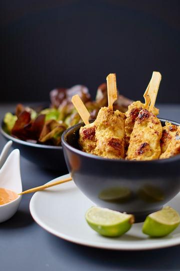 Rezept Saté Spieße mit Erdnuss Curry Sauce