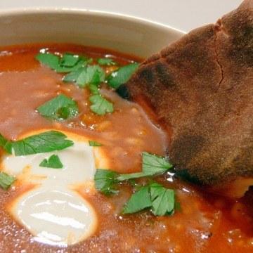 Rezept scharfe Linsen-Tomatensuppe