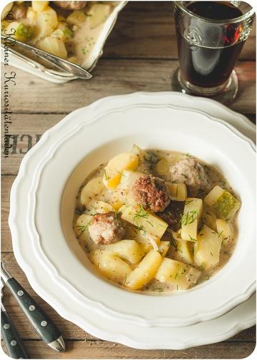 Rezept Schmorgurken-Kartoffelragout mit Bratwurstbällchen