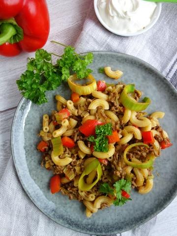Rezept Schnelle Hackfleischpfanne mit Gemüse und Pasta