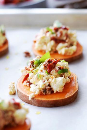 Rezept Schneller Süßkartoffel-Feta-Snack, lecker zu Wein und Bier