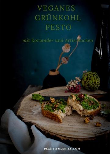 Rezept Schnelles veganes Grünkohl Pesto mit Artischocke und Koriander
