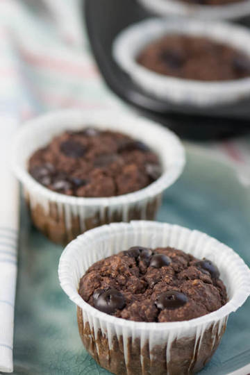 Rezept Schoko Banane Haferflocken Muffins - Frühstücksmuffins ohne Zucker