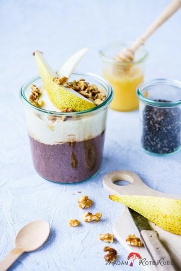 Rezept Schoko-Chiapudding mit Cashew-Mandelcreme und Birne
