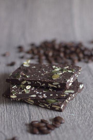 Rezept Schokolade mit gerösteten Kürbiskernen und Espresso