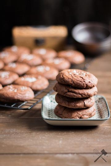 Rezept Schokoladen Cookies mit Nutellafüllung und Meersalz