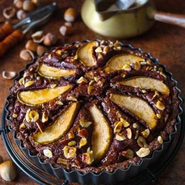 Rezept Schokoladen-Haselnuss-Tarte mit Birnen